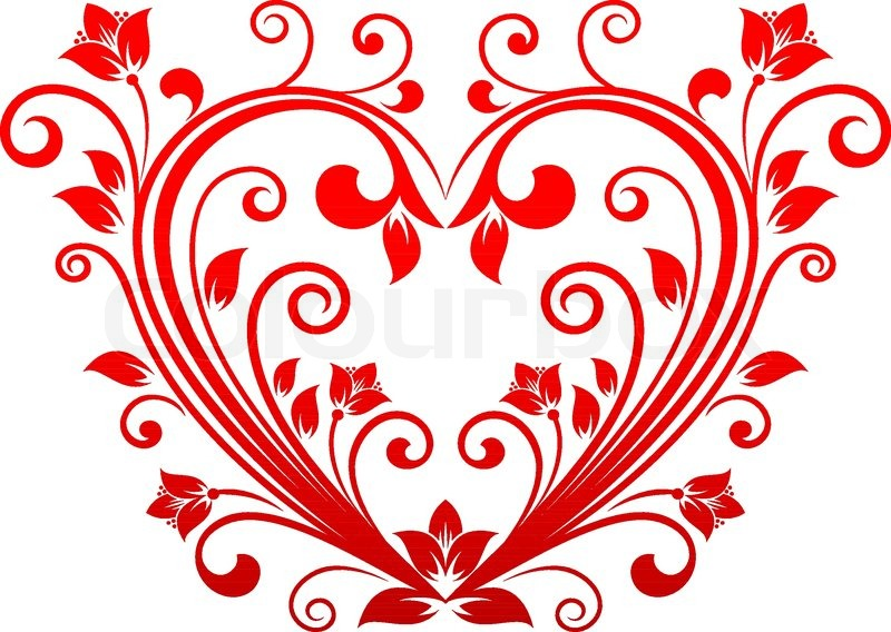 800x568 Red Valentine Heart In Floral Style For Holiday Design Stock