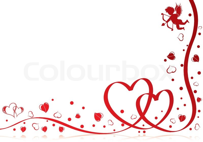 800x560 Valentines Day Theme With Heart, Ribbon And Cupid, Element For