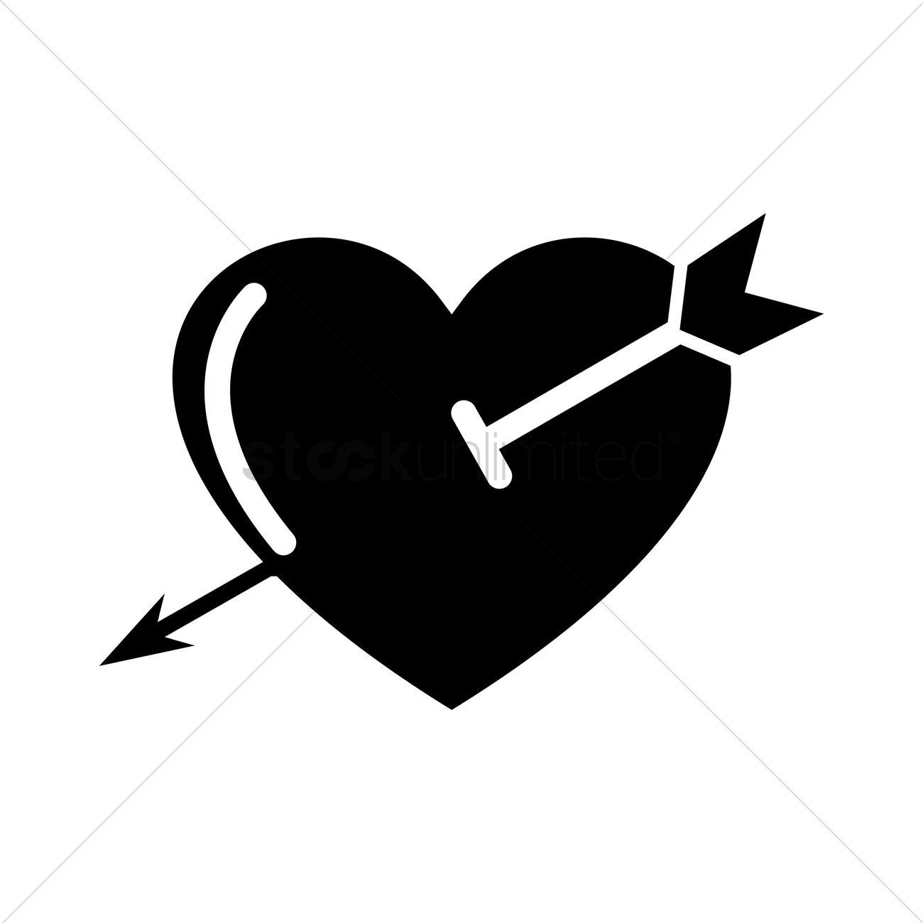 1300x1300 Arrow Through Heart Design Vector Image