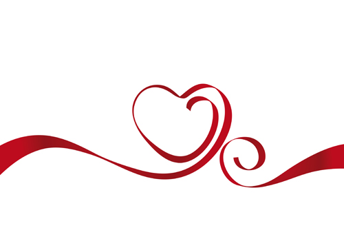 500x350 Creative Heart From Red Ribbon Design Vector 01 Free Download