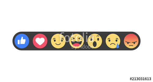 500x267 Set Of Emoticons With Like And Heart. Emoji Vector Icons. Vector