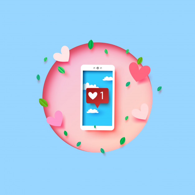 626x626 Smartphone With Love And Heart Emoji Message On Screen. Vector