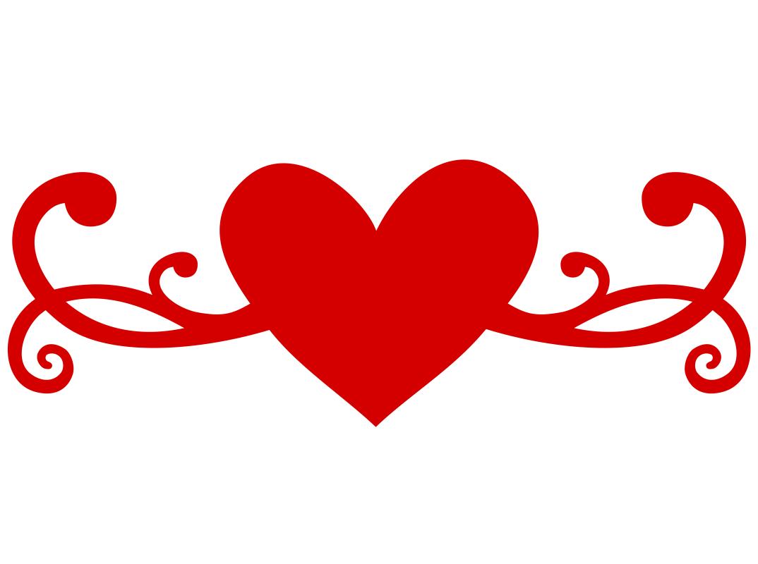 1074x800 Heart Flourish Free Vector Download