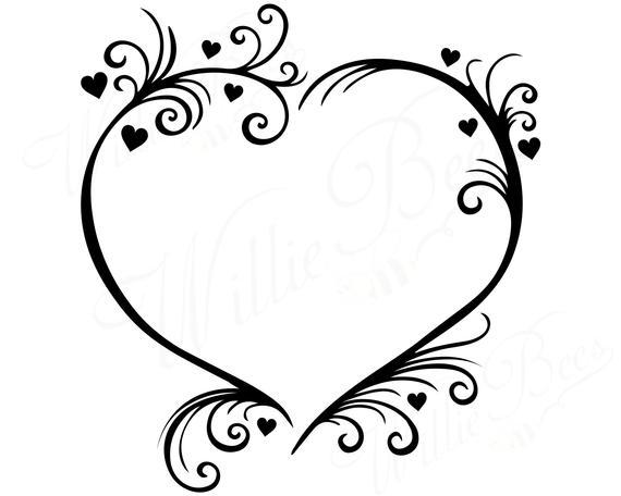 570x456 Heart Svg Wedding Svg Couples Svg Love Heart Flourish Etsy