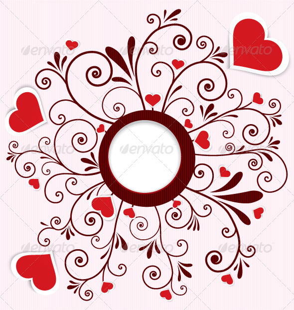590x622 Heart Stickers Swirl Frame Vector By Zebra Finch Graphicriver