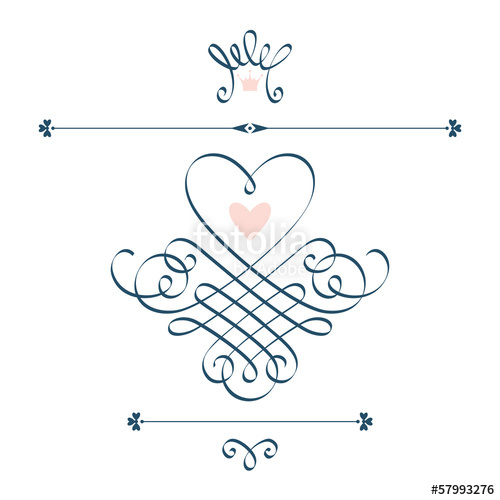 500x500 Calligraphic Heart, Crown, Flourish Stock Image And Royalty Free