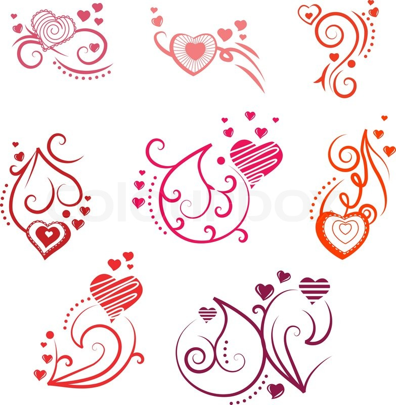 783x800 Ornate Design Elements With Different Hearts And Flourishes