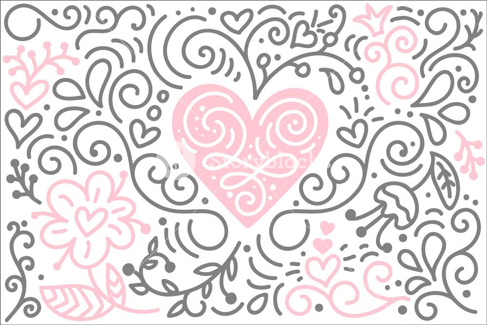 1000x668 Scandinavian Folk Heart Vector With Flowers And Flourish
