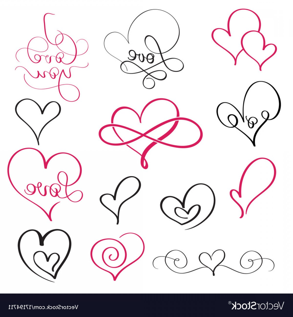 1200x1296 Set Of Flourish Calligraphy Vintage Hearts And Vector Shopatcloth
