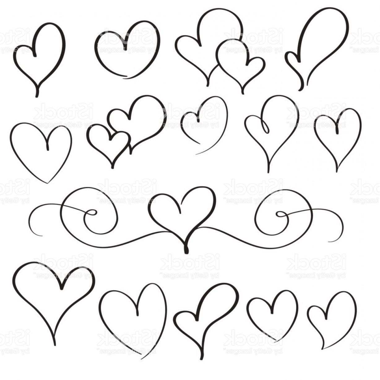 1228x1228 Set Of Flourish Calligraphy Vintage Hearts Illustration Vector