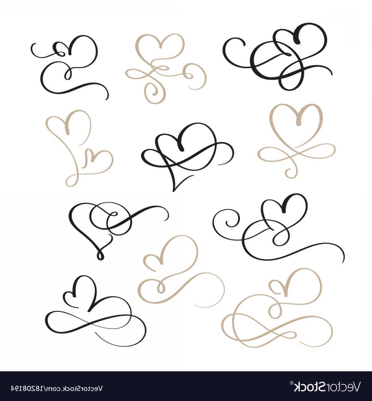 1200x1296 Set Of Flourish Calligraphy Vintage Hearts Vector Shopatcloth