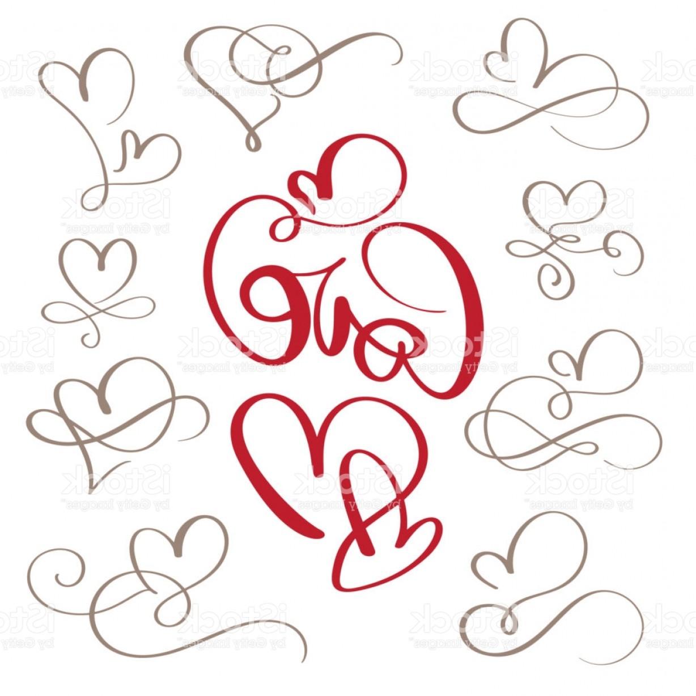 1228x1228 Set Of Flourish Calligraphy Vintage Love And Hearts Illustration