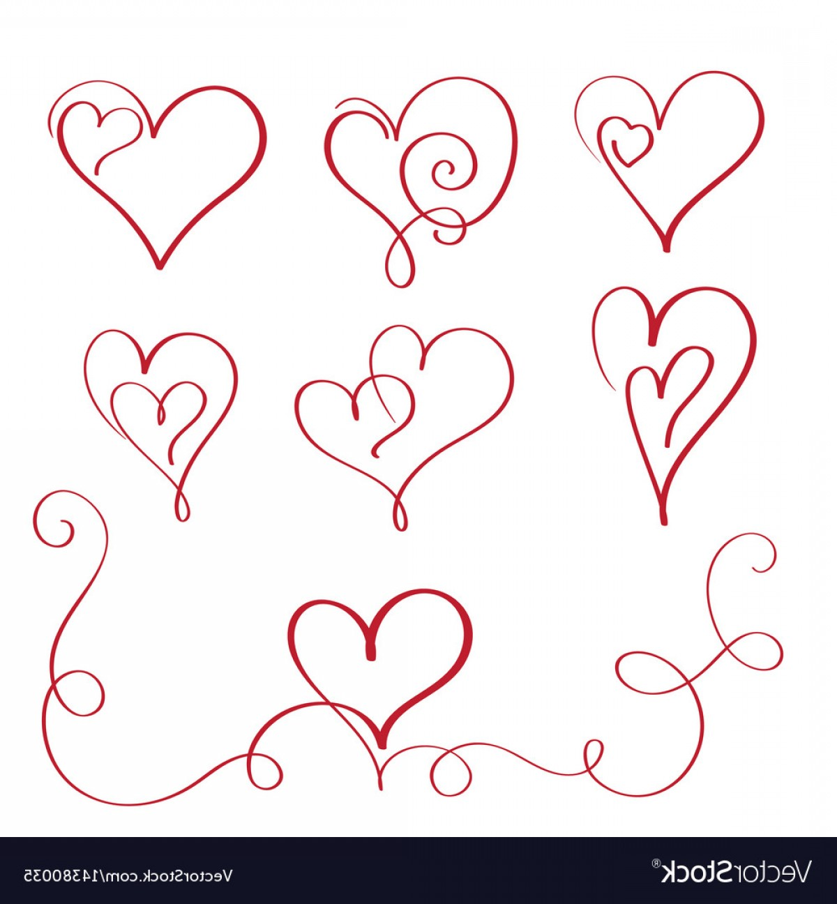 1200x1296 Set Of Red Flourish Calligraphy Vintage Hearts Vector Shopatcloth
