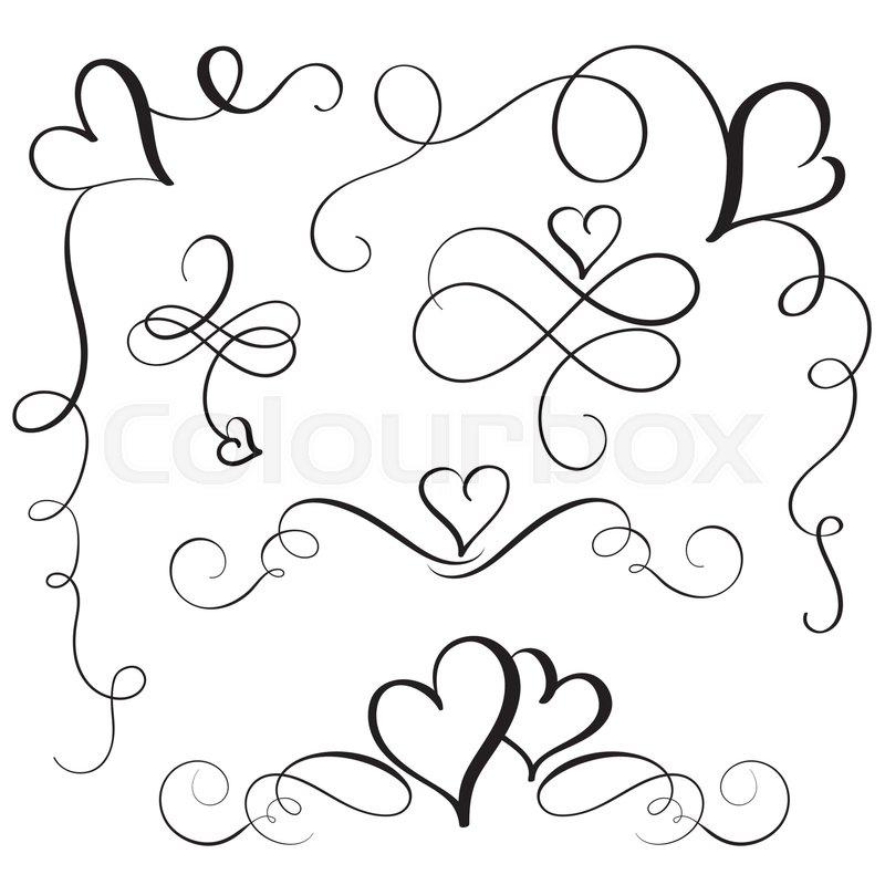 800x800 Set Of Flourish Calligraphy Vintage Hearts. Illustration Vector