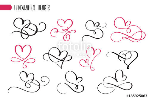 500x333 Set Of Hand Drawn Sketchy Calligraphy Hearts. Vector Grunge Style