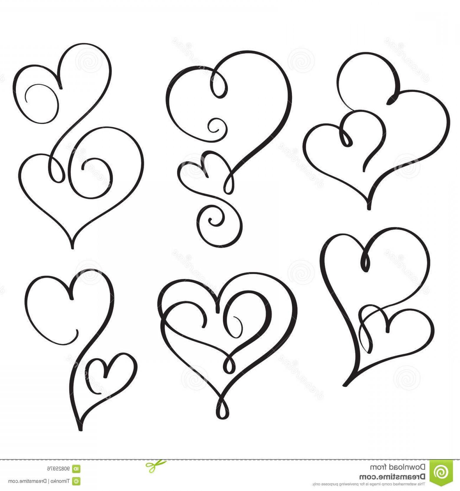 1560x1668 Stock Illustration Set Flourish Calligraphy Vintage Hearts