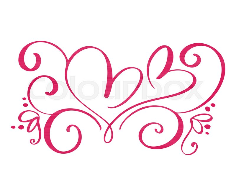 800x600 Vector Valentines Day Of Flourish Calligraphy Vintage Hearts. Hand