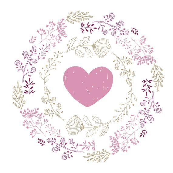 570x570 Floral Wreath With Heart. Svg Flourish Vector. Hand Drawn Etsy