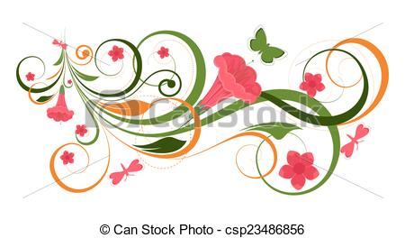 450x264 Flourish Heart Banner Vector. Abstract Decorative Colorful