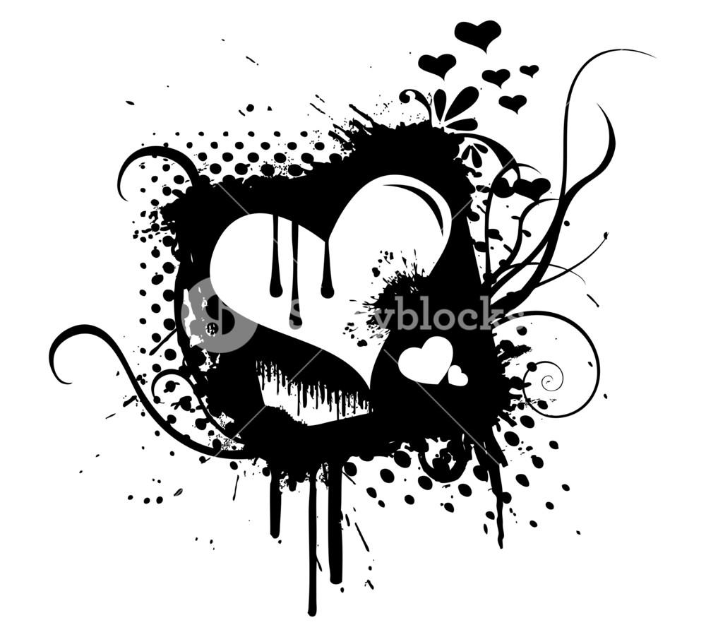 1000x902 Grunge Retro Flourish Heart Graphic Vector Royalty Free Stock