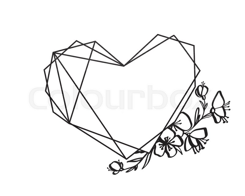 800x640 Graphic Floral Geometry Heart Frame. Vector Leaves And Flowers In