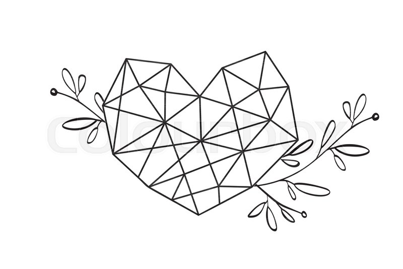 800x534 Graphic Floral Geometry Love Heart Frame. Vector Leaves And