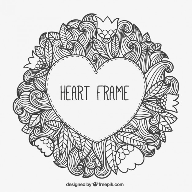 626x626 Heart Frame In Doodle Style Free Vectors Ui Download