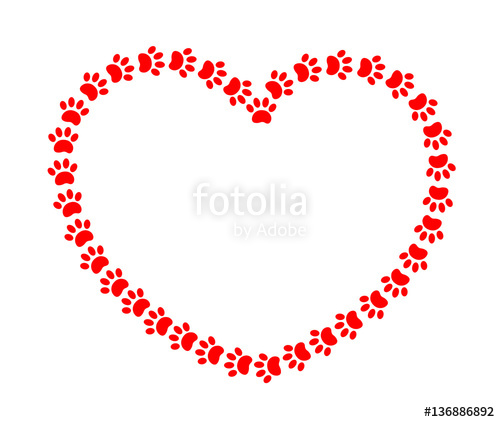 500x422 Heart Frame With Red Paws Animals Stock Image And Royalty Free
