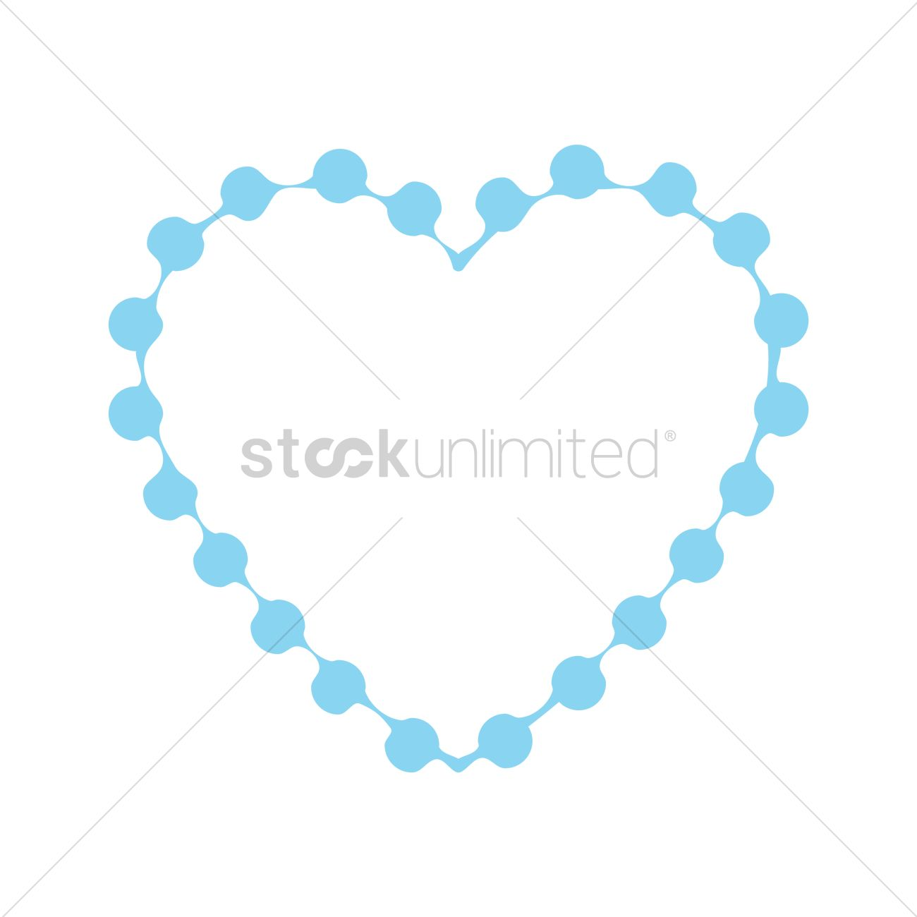 1300x1300 Blue Heart Frame Vector Image
