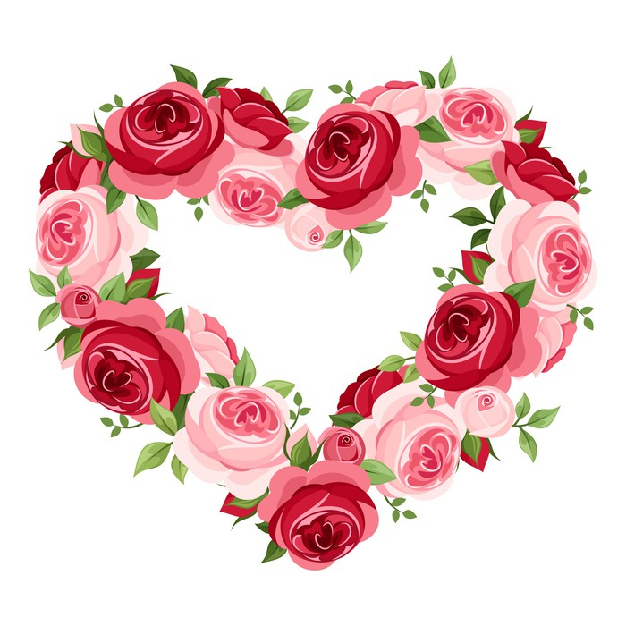 700x700 Roses Heart Frame. Vector Illustration. Wall Mural We