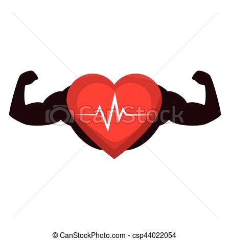 450x470 Heart Cardio With Strong Hands Vector Illustration Design.