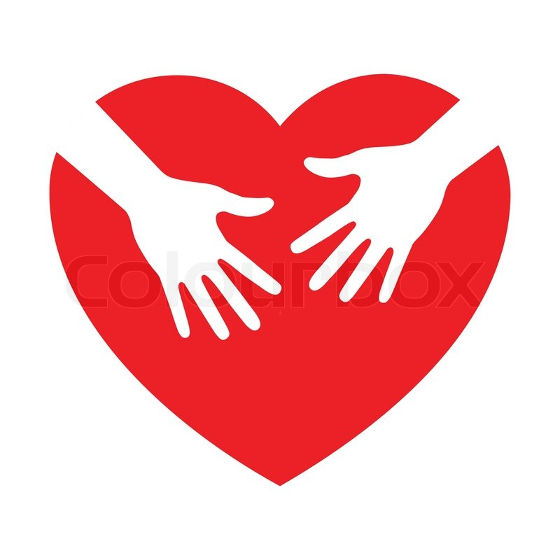 800x800 Heart Icon With Caring Hands, Vector Logo Stock Vector Colourbox