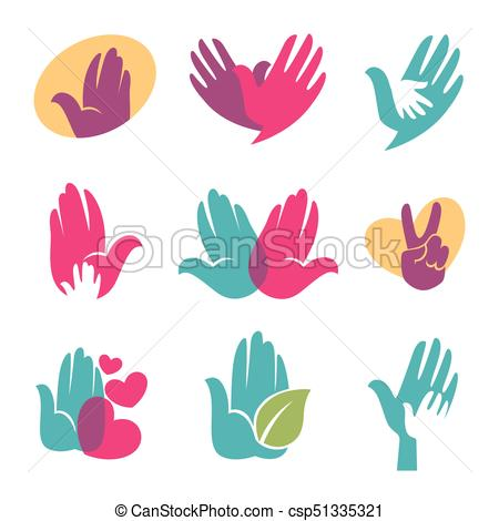 450x470 Human Hands Vector Symbols Of Helping Hand, Heart Or Bird Icon