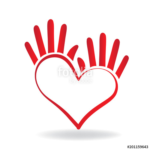 500x500 Logo Heart Hands Stylized Vector Template Stock Image And Royalty