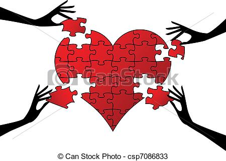 450x322 Red Puzzle Heart With Hands, Vector. Red Jigsaw Heart With Hands