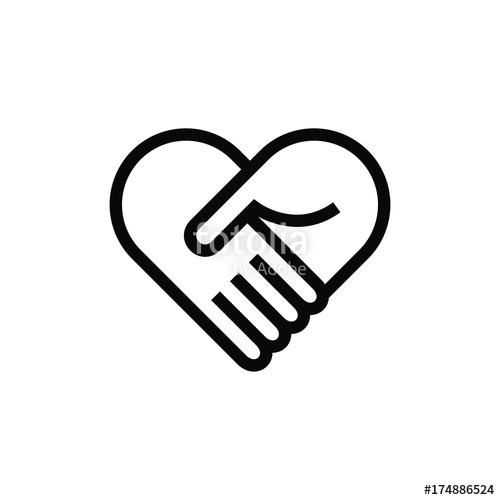 500x500 Collaboration Teamwork Care Heart Hands Icon Logo Stock Image And