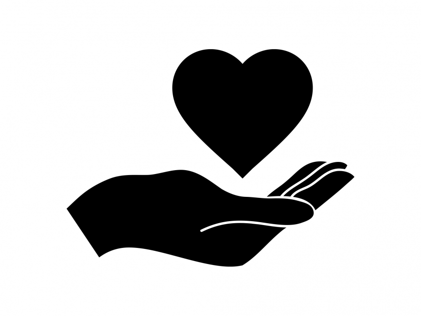 866x650 Hand And Heart Vector Logo Template
