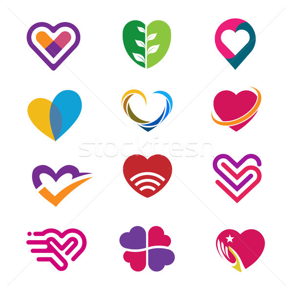 600x600 Heart Logo Set Vector Vector Illustration Krustovin August