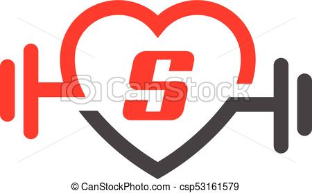 450x279 Love Fit With Letter S Logo Vector, Heart Letter S Sign, Pulse And
