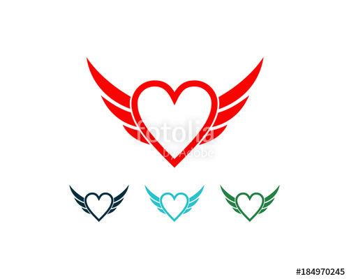 500x400 Flying Wings Heart Symbol Logo Vector Stock Image And Royalty