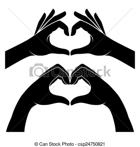 450x470 Hands In Form Of Heart. Two Black Silhouette Hands Form A Heart