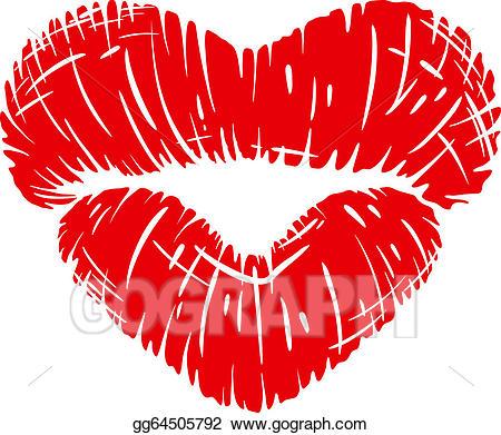 450x391 Heart Shape Clipart Vector Art Red Lips Print In Heart Shape