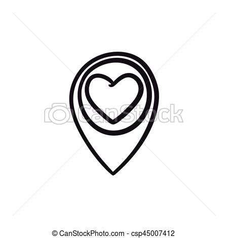 450x470 Map Pointer With Heart Sketch Icon. Map Pointer With Heart Vector