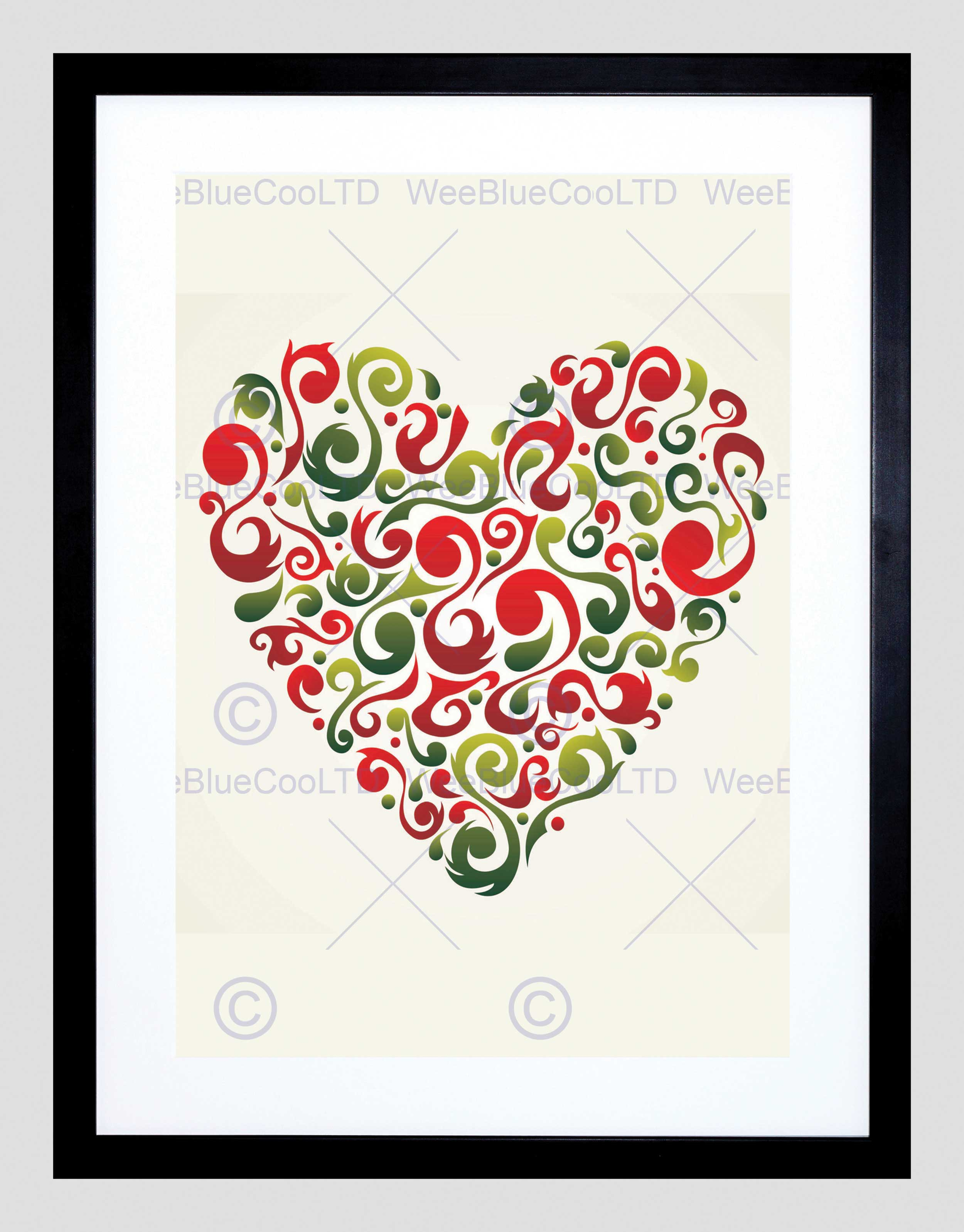 2500x3195 Painting Abstract Love Heart Shape Inset Red Swirl Vector Framed
