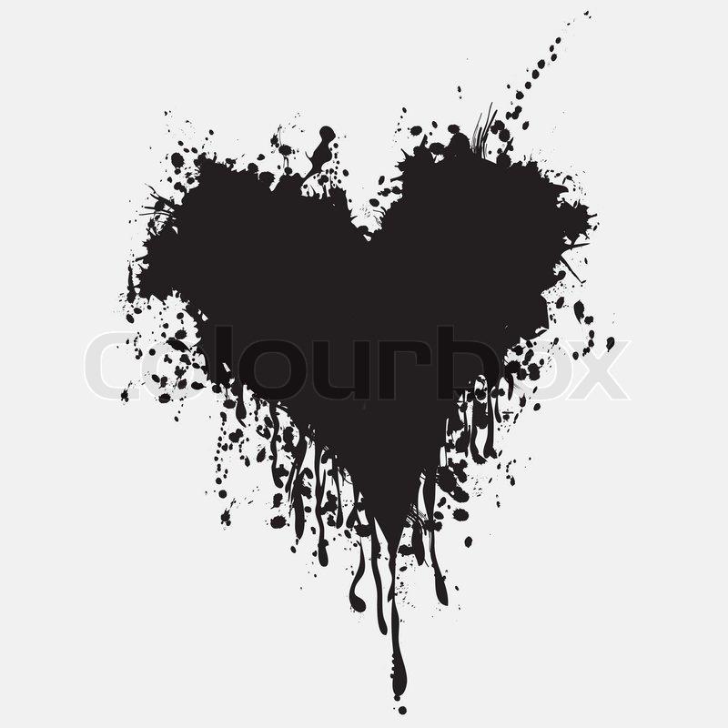 800x800 Graphic Grunge Heart, Ink Splatter Vector. Paint Splat. Love