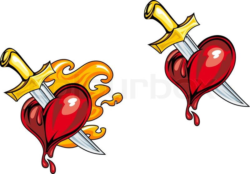 800x559 Cartoon Heart With Medieval Knife In Retro Style For Tattoo