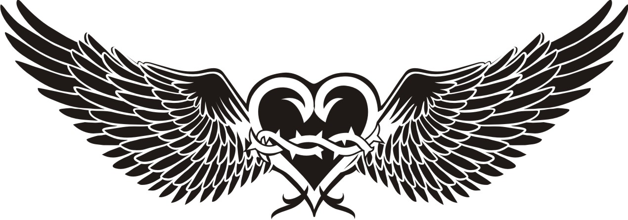 1270x445 Heart And Wings Tattoo Vector Corel Draw Tutorial And Free Vectors