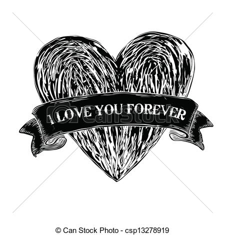 450x470 Heart Tattoo. Vector, Eps8.
