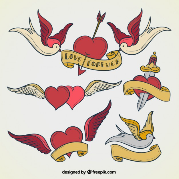 626x626 Heart Tattoos Collection Vector Free Download