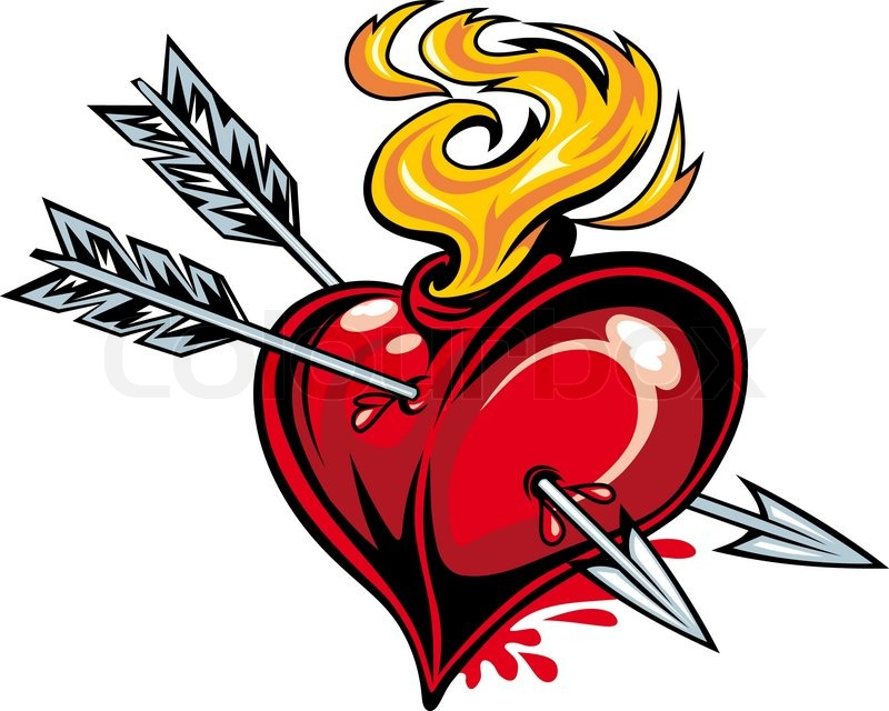 800x640 Cartoon Red Heart With Two Arrows For Tattoo Design Stock Vector